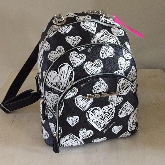Betsey Johnson Bags   Black White Heart Backpack   Poshmark ba2de42c0f